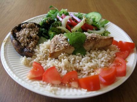 Pecan Crusted Tofu and Portobello Mushroom with Pesto Sauce