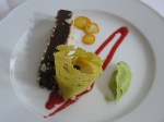 Raw Chocolate Fudge with Raspberry Coulis, Pineapple Cannoli, Raw Key Lime Ice Cream