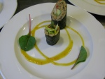 Raw Wasabi Ginger Pate Nori Rolls with Mango Chile Sauce